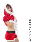 Купить «Smiling girl in santa clause costume», фото № 27983488, снято 26 мая 2018 г. (c) PantherMedia / Фотобанк Лори