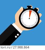 Купить «hand with stopwatch 3 seconds or 3 minutes», фото № 27988864, снято 18 октября 2018 г. (c) PantherMedia / Фотобанк Лори