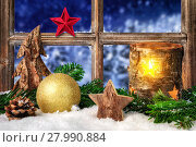 Купить «decoration for christmas or advent at the window,with snow,candlelight and fir branches», фото № 27990884, снято 19 января 2020 г. (c) PantherMedia / Фотобанк Лори