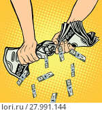 Купить «Financial profit, hands squeeze out of the money dollars», фото № 27991144, снято 23 февраля 2019 г. (c) PantherMedia / Фотобанк Лори