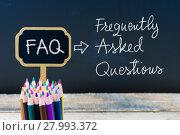 Купить «Business Acronym FAQ Frequently Asked Questions written with chalk on wooden mini blackboard labels», фото № 27993372, снято 25 июня 2019 г. (c) PantherMedia / Фотобанк Лори