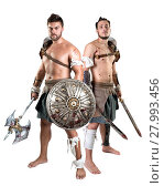 Купить «Ancient warriors or Gladiators isolated in a white background», фото № 27993456, снято 9 июля 2020 г. (c) PantherMedia / Фотобанк Лори