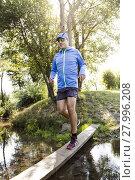 Купить «young man jogging at the woods», фото № 27996208, снято 18 июня 2019 г. (c) PantherMedia / Фотобанк Лори