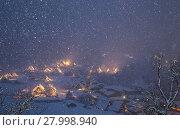 Купить «Shirakawago light-up snowfall», фото № 27998940, снято 23 июля 2018 г. (c) PantherMedia / Фотобанк Лори