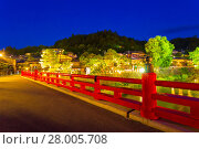 Купить «Takayama Naka-Bashi Bridge River Lighted Night H», фото № 28005708, снято 22 сентября 2018 г. (c) PantherMedia / Фотобанк Лори