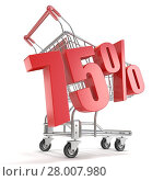 Купить «75% - seventy five percent discount in front of shopping cart. Sale concept. 3D», фото № 28007980, снято 24 февраля 2018 г. (c) PantherMedia / Фотобанк Лори
