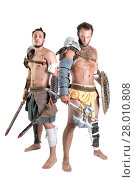 Купить «Ancient warriors or Gladiators isolated in a white background», фото № 28010808, снято 5 июня 2020 г. (c) PantherMedia / Фотобанк Лори
