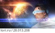 Купить «male robot in 3d glasses and sensors over space», фото № 28013208, снято 17 ноября 2012 г. (c) Syda Productions / Фотобанк Лори