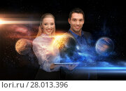 Купить «businesspeople with tablet pc and planets in space», фото № 28013396, снято 17 ноября 2012 г. (c) Syda Productions / Фотобанк Лори