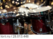 Купить «close up of drums at music studio», фото № 28013448, снято 18 августа 2016 г. (c) Syda Productions / Фотобанк Лори