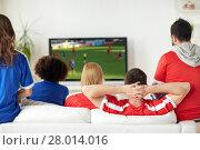 Купить «friends or soccer fans watching game on tv at home», фото № 28014016, снято 14 августа 2016 г. (c) Syda Productions / Фотобанк Лори