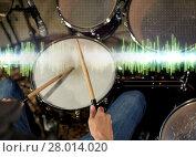 Купить «male musician playing drum kit at concert», фото № 28014020, снято 18 августа 2016 г. (c) Syda Productions / Фотобанк Лори