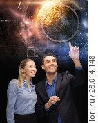Купить «businessman and businesswoman over space», фото № 28014148, снято 17 ноября 2012 г. (c) Syda Productions / Фотобанк Лори
