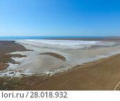 Купить «Saline Salt Lake in the Azov Sea coast. Former estuary. View from above. Dry lake. View of the salt lake with a bird's eye view», фото № 28018932, снято 15 декабря 2018 г. (c) PantherMedia / Фотобанк Лори
