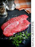 Купить «Rib Eye Steak With Spices», фото № 28019916, снято 21 июня 2018 г. (c) PantherMedia / Фотобанк Лори