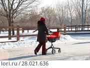 Купить «Молодая мама прогуливается с детской коляской по дорожке в Коломенском парке в Москве», эксклюзивное фото № 28021636, снято 1 марта 2011 г. (c) lana1501 / Фотобанк Лори