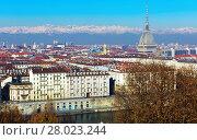 Купить «View of Turin with Mole Antonelliana, Italy», фото № 28023244, снято 6 декабря 2017 г. (c) Яков Филимонов / Фотобанк Лори