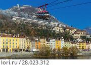 Купить «Aerial view of Grenoble with French Alps and cable car», фото № 28023312, снято 7 декабря 2017 г. (c) Яков Филимонов / Фотобанк Лори