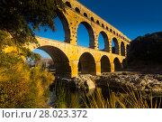 Купить «Pont du Gard, an ancient Roman bridge in southern France», фото № 28023372, снято 8 декабря 2017 г. (c) Яков Филимонов / Фотобанк Лори