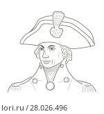 Купить «Vice Admiral Horatio Lord Nelson. Sketch illustration. Vector», иллюстрация № 28026496 (c) PantherMedia / Фотобанк Лори
