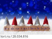 Купить «Gnomes, Blue Background, Bokeh, Stars, Quote Always Time To Begin», фото № 28034816, снято 21 июля 2018 г. (c) PantherMedia / Фотобанк Лори