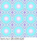 Купить «Abstract geometric seamless background. Regular circles and diamond pattern in turquoise, pink, violet and purple shades, ornate and dreamy.», фото № 28039620, снято 21 января 2020 г. (c) PantherMedia / Фотобанк Лори