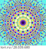 Купить «Abstract geometric seamless background. Regular round concentric ornament with turquoise, blue, purple and yellow elements, ornate and dreamy.», фото № 28039680, снято 22 июля 2018 г. (c) PantherMedia / Фотобанк Лори