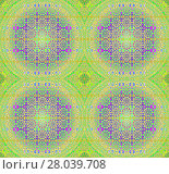 Купить «Abstract geometric seamless background. Regular floral circles and diamond pattern in lime green and purple shades with blue, orange and violet elements, ornate and dreamy.», фото № 28039708, снято 20 июня 2018 г. (c) PantherMedia / Фотобанк Лори