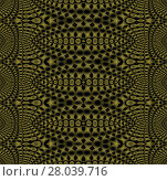 Купить «Abstract geometric seamless shiny background. Regular dark ellipses pattern in gold brown and olive green shades on black, ornate and gradient hole pattern.», фото № 28039716, снято 19 апреля 2019 г. (c) PantherMedia / Фотобанк Лори