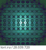 Купить «Abstract geometric seamless background, modern and gradient. Regular circles, ellipses and diamond pattern in dark green, turquoise and dark blue shades, centered, blurred and shiny.», фото № 28039720, снято 19 февраля 2019 г. (c) PantherMedia / Фотобанк Лори