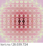 Купить «Abstract geometric seamless modern background. Regular circles, ellipses and diamond pattern in light yellow, pink and pastel red shades, centered and blurred.», фото № 28039724, снято 20 апреля 2018 г. (c) PantherMedia / Фотобанк Лори