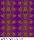 Купить «Abstract geometric seamless vintage background. Ornate regular ellipses and circles pattern olive green on purple.», фото № 28039732, снято 24 февраля 2018 г. (c) PantherMedia / Фотобанк Лори