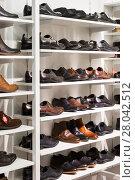 Купить «shelves with men's leather shoes in a store», фото № 28042512, снято 17 июня 2019 г. (c) PantherMedia / Фотобанк Лори