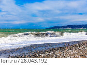 Купить «View of storm seascape.  Sea background. Waves.  waves crashing on shore», фото № 28043192, снято 17 ноября 2018 г. (c) PantherMedia / Фотобанк Лори