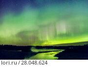 Купить «Aurora Borealis over the South Heart River, Winagami Wildland Provincial Park, Alberta, Canada. August 2017.», фото № 28048624, снято 21 мая 2018 г. (c) Nature Picture Library / Фотобанк Лори