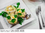 salad olivier with shallow depth of field. Стоковое фото, фотограф Дмитрий Бачтуб / Фотобанк Лори