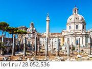 Купить «View of the Trajan forum with the Church of Santa Maria di Loreto and column Trajan, Rome, Italy», фото № 28052536, снято 12 сентября 2017 г. (c) Наталья Волкова / Фотобанк Лори