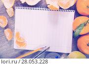 Купить «Notebook surrounded by fruit», фото № 28053228, снято 10 декабря 2018 г. (c) Яков Филимонов / Фотобанк Лори