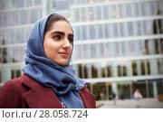Купить «British Muslim Businesswoman Standing Outside Office», фото № 28058724, снято 28 октября 2016 г. (c) easy Fotostock / Фотобанк Лори