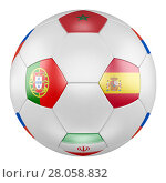 3D soccer ball with group B flags of Portugal, Spain, Morocco, Iran on white background. Match between Portugal and Spain. Стоковая иллюстрация, иллюстратор LVV / Фотобанк Лори