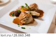Купить «Ravioli in sauce dish», фото № 28060348, снято 12 декабря 2016 г. (c) Яков Филимонов / Фотобанк Лори