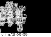 Купить «Gears, shafts and bearings. X-ray render», иллюстрация № 28063056 (c) Кирилл Черезов / Фотобанк Лори