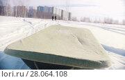 Купить «Tray pulled by mini snowmobile to the winter road», видеоролик № 28064108, снято 19 марта 2018 г. (c) Константин Шишкин / Фотобанк Лори