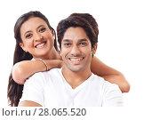 Купить «Portrait of couple smiling», фото № 28065520, снято 8 августа 2014 г. (c) easy Fotostock / Фотобанк Лори
