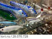 Купить «Picture of variety colored fishing lures in the shop», фото № 28070728, снято 16 января 2018 г. (c) Яков Филимонов / Фотобанк Лори