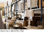Купить «Furniture assortment offered for sale in furnishings store», фото № 28070752, снято 9 ноября 2017 г. (c) Яков Филимонов / Фотобанк Лори
