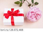 gift and rose. Стоковое фото, фотограф Myroslav Kuchynskyi / Фотобанк Лори
