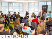 Купить «Round table discussion at business and entrepreneurship convention.», фото № 28074808, снято 16 января 2019 г. (c) Matej Kastelic / Фотобанк Лори