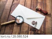 Купить «Envelope, magnifier, stamp, clock», фото № 28080524, снято 13 июля 2020 г. (c) easy Fotostock / Фотобанк Лори