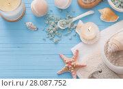 Купить «Spa concept with candles on blue wooden background», фото № 28087752, снято 16 ноября 2017 г. (c) Майя Крученкова / Фотобанк Лори